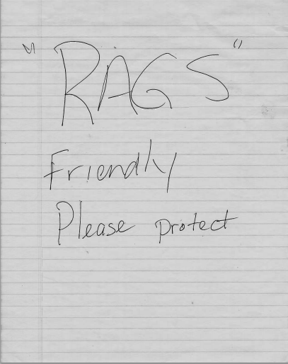 "Note left with ""Rags"" in Michael C. Ruppert's car. IMAGE SOURCE: Jack Martin"